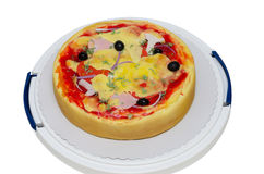 Pizza do bolo de aniversário isolada no branco imagens de stock
