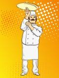 Pizza do cozinheiro do homem do pop art Cozinheiro chefe que lanç a massa da pizza Imitação do estilo da banda desenhada Estilo r Imagem de Stock Royalty Free