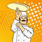 Pizza do cozinheiro do homem do pop art Cozinheiro chefe que lanç a massa da pizza Imitação do estilo da banda desenhada Estilo r Fotografia de Stock Royalty Free