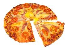 Pizza do ovo e do bacon com tomate e queijo Imagens de Stock Royalty Free