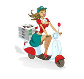 Pizza. Donna. Motorino Fotografia Stock