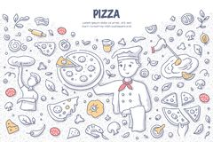 Pizza Doodle Concept. Chef holding pizza. Doodle vector concept of cooking pizza. Illustration for web banners, hero images, printed materials stock illustration