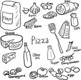 Pizza doodle set Stock Photo
