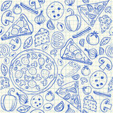 Pizza doodles seamless pattern Royalty Free Stock Photo