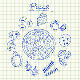 Pizza doodles - squared paper Stock Photo