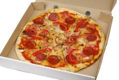 Pizza in doos Stock Foto's