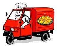 pizza doręczeniowy samochód dostawczy royalty ilustracja