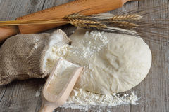 Pizza dough and bread Royalty Free Stock Image