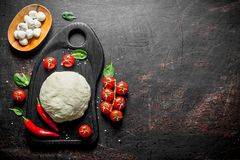Pizza dough on a cutting Board with tomatoes, mozzarella and spinach. On dark rustic background stock photos