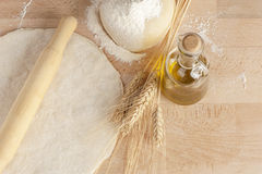 Pizza dough. On floured cutting board Royalty Free Stock Photo