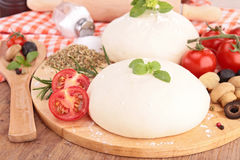 Pizza dough and ingredient Royalty Free Stock Photos