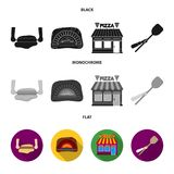 Pizza dough, oven, pizzeria building, spatula for billets. Pizza and pizzeria set collection icons in black, flat. Monochrome style vector symbol stock Royalty Free Stock Photo
