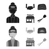 Pizza dough, oven, pizzeria building, spatula for billets. Pizza and pizzeria set collection icons in black,monochrom. Style vector symbol stock illustration Stock Photos