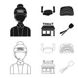 Pizza dough, oven, pizzeria building, spatula for billets. Pizza and pizzeria set collection icons in black,outline. Style vector symbol stock illustration Stock Photography