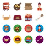Pizza dough, oven, pizzeria building, spatula for billets. Pizza and pizzeria set collection icons in cartoon,flat style. Vector symbol stock illustration Stock Photography
