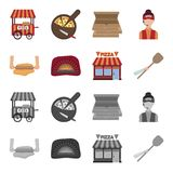 Pizza dough, oven, pizzeria building, spatula for billets. Pizza and pizzeria set collection icons in cartoon,monochrome. Style vector symbol stock illustration Royalty Free Stock Photography