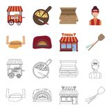 Pizza dough, oven, pizzeria building, spatula for billets. Pizza and pizzeria set collection icons in cartoon,outline. Style vector symbol stock illustration Stock Photo