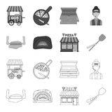 Pizza dough, oven, pizzeria building, spatula for billets. Pizza and pizzeria set collection icons in outline,monochrome. Style vector symbol stock illustration Royalty Free Stock Photography