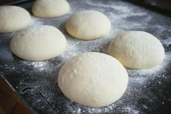 Pizza dough rolls on baking tray. Leaking stock photography