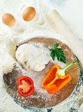 Pizza dough.Still life with ingredients Royalty Free Stock Images