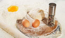 Pizza dough.Still life with ingredients Stock Photos