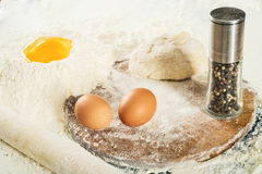 Pizza dough.Still life with ingredients Royalty Free Stock Photo