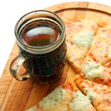 Pizza with drink Stock Photos