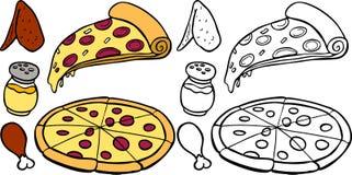 Pizza e asas ilustração do vetor