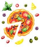 Pizza e ingridients, comida italiana libre illustration