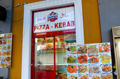 Pizza e no espeto Fotografia de Stock