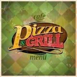 Pizza e progettazione di carta del menu della griglia Fotografia Stock
