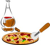 Pizza e vinho Foto de Stock Royalty Free