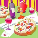 Pizza e vino Fotografie Stock Libere da Diritti