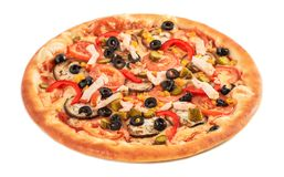 Pizza with eggplant, ham, red pepper, tomato,cucumber, olives and corn isolated on white. Background royalty free stock images