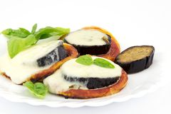 Pizza with eggplant and mozzarella Royalty Free Stock Photo