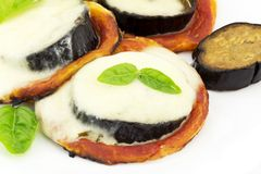 Pizza with eggplant and mozzarella Stock Images
