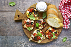 Pizza on a eggplant slices. Royalty Free Stock Photos