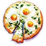 Pizza with eggs and seafood. Watercolor painting on white background Stock Photography