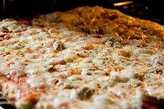 Pizza eigengemaakt recht van de oven Stock Afbeeldingen