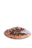 Pizza in einer Platte Stockfotografie