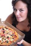 Pizza el oler de la muchacha Fotos de archivo