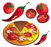 Pizza elements Royalty Free Stock Image