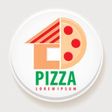 Pizza. Emblem of the pizzeria with part of the house and a piece of pizza. Vector illustration Stock Image