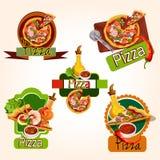 Pizza emblematy ustawiający royalty ilustracja