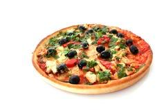 Pizza en blanco fotografía de archivo libre de regalías
