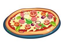 Pizza en blanco Imágenes de archivo libres de regalías