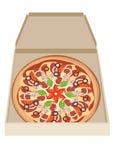 Pizza en caja Foto de archivo libre de regalías