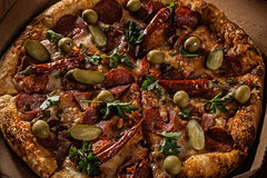 Pizza en caja de la entrega Imágenes de archivo libres de regalías