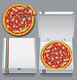 Pizza en doos Stock Afbeelding