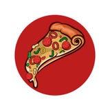 Pizza en el fondo blanco Objeto aislado pizza Foto de archivo libre de regalías
